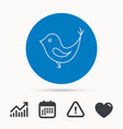 bird with beak icon social media concept sign vector image