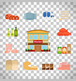 grocery icons set on transparent background vector image