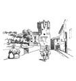 la torre del clavero military fortress vintage vector image