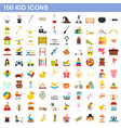 100 kid icons set flat style vector image
