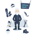 Athletic old man and winter sport vector image vector image