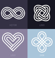 Set of abstract line logos vector image