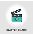 Adult movie clapper flat icon vector image