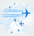 Transport and civil airplanes paths vector image