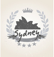 Grunge Sydney icon laurel weath vector image