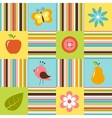 Patchwork background with flowers bird pear and vector image
