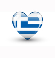 Heart-shaped icon with national flag of Greece vector image
