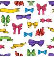 doodle style banner sketch ribbons and bows on vector image vector image
