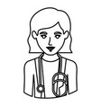 monochrome contour half body of female doctor vector image