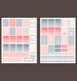 grey and pink printable stickers for planner vector image