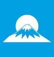 sun and mountain icon white vector image vector image