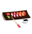 Japanese sushi with chopsticks vector image