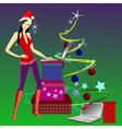 girl Santa Claus vector image vector image