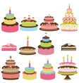 Set of colorful birthday cakes vector image