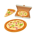 Whole pizza seafood in open white box and slice vector image