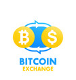 Bitcoin to dollar exchange vector image