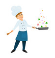 chef with a frying pan vector image
