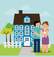 family home couple and baby image vector image