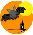 halloween inllustration with bat moon and castle vector image