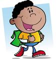 African American Walking School Boy vector image vector image