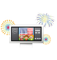 A flag at the back of three kids inside a vector image vector image