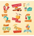 Set of cute bright summer icons with typographic vector image vector image