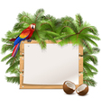 Wooden Frame with Palm Tree vector image