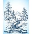 Winter snowy landscape pine forest and river in vector image vector image