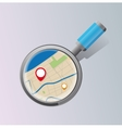 Stylized magnifying glass map for website vector image