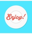 red enjoy text like sauce on white plate vector image