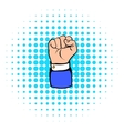 Raised fist hand gesture icon comics style vector image