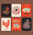 vintage bbq set banner- eps10 grunge vector image