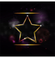 neon gold star border background vector image vector image