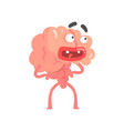 surprised scared humanized cartoon brain character vector image