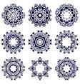 Set of nine circular patterns vector image