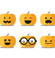 Different helloween pumpkin faces clip-art vector image
