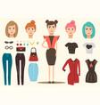 Fashion model elements set vector image