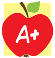 Red A Plus School Apple And Background vector image