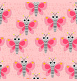 seamless butterfly pattern on the pink spotted bac vector image