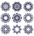 Set of nine circular patterns vector image