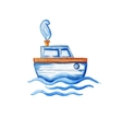 Watercolor ship floating in the sea vector image