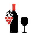 wine bottle glass and grape vector image
