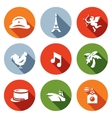 Set of France Icons Army Paris Eiffel vector image