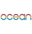 Lettering ocean travel logo summer sunrise or vector image