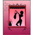 woman in a window vector image vector image