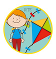 child flying kite vector image