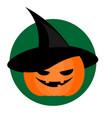 spooky halloween pumpkin in wizard hat background vector image