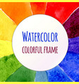 Watercolor rainbow background colorful template vector image