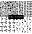 Set of four monochrome geometrical patterns vector image