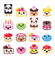 Cute Kawaii dessert - cake macaroon ice-cream ic vector image